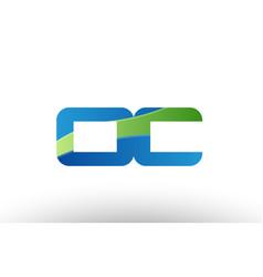 Blue green oc o c alphabet letter logo vector