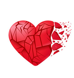 Broken heart sealed isolated red glass shards vector