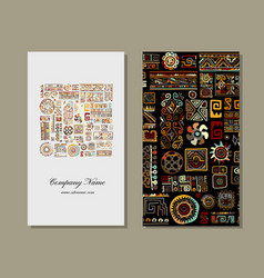 business card design ethnic handmade ornament vector image vector image
