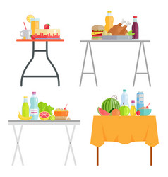 Cafe tables with food and dishes healthy eating vector