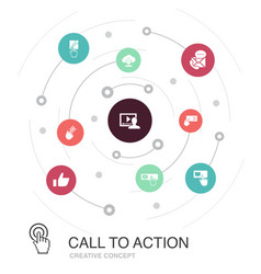 Call to action colored circle concept with simple vector
