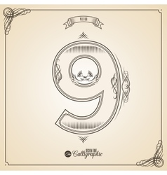 Calligraphic Fotn with Border Frame Elements and vector
