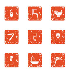 Care of hair icons set grunge style vector