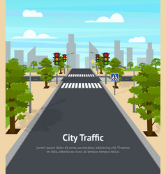 cartoon city crossroad traffic lights card poster vector image