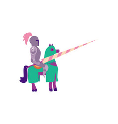 cartoon knight in metal armor sitting on a horse vector image