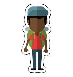 cartoon man backpack and cap vector image