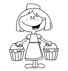 Child maid cartoon vector image