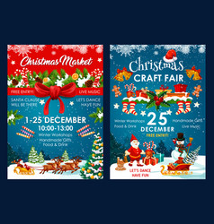 christmas fair decoration posters vector image