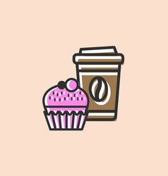 coffee and muffin icon vector image