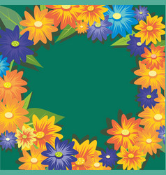 cute flowers autumn wreath on light background vector image