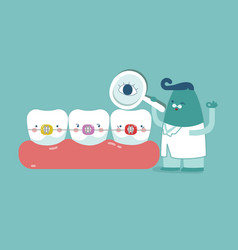 Dentist check up braces teeth tooth concept of de vector