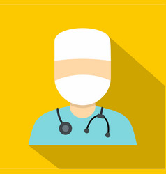 Doctor in a mask with stethoscope icon flat style vector