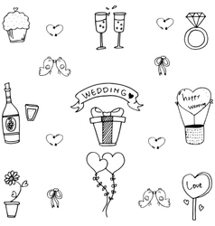 Doodle of sweet wedding party vector image