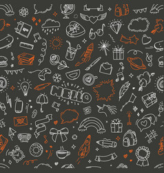 doodling seamless pattern abstrzct vector image