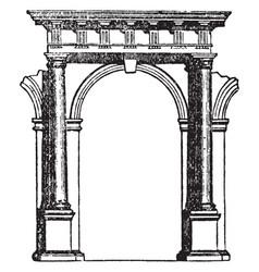 Doric arcade passageway vintage engraving vector