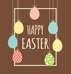easter frame with hanging eggs vector image
