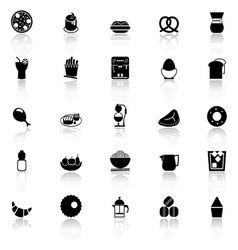 Easy meal icons with reflect on white background vector