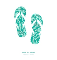 emerald green plants flip flops silhouettes vector image