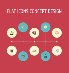 Flat icons mind help show and other vector
