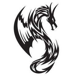 Flying dragon tattoo vintage engraving vector