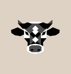geometric cow head black and white bull vector image