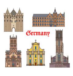 Germany landmark buildings cathedrals dusseldorf vector