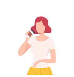 Girl drinking coffee young woman character vector