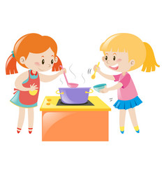 Girls having fun cooking together vector