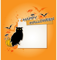 Halloween background with owl vector image