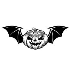 halloween pumpkin with bat wings black vector image