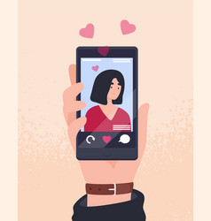 hand holding cellphone with photo young vector image
