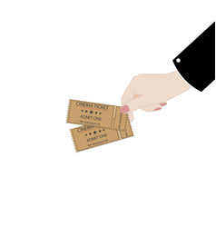 hand holds tickets on a white background vector image