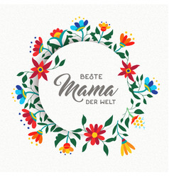 Happy mother day spanish flower art greeting card vector