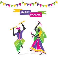 Happy navratri festive poster vector