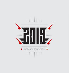 happy new rocknroll 2019 - music poster vector image