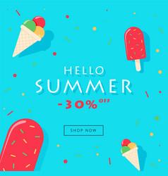 hello summer sale card vector image