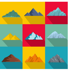 High mountain icons set flat style vector