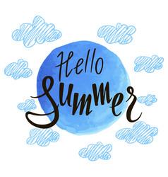 inscription hello summer against sky vector image