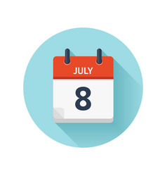 July 8 flat daily calendar icon date and vector