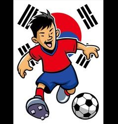 Korean soccer player with flag background vector