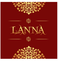 lanna gold bodhi leaves red background imag vector image