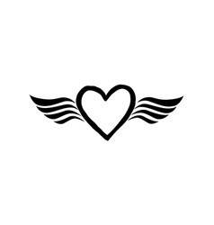 Love heart with wings valentine day icon lost vector