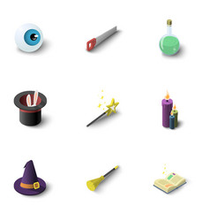 magic equipment icons set isometric style vector image