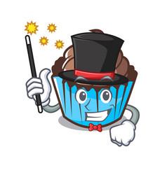 Magician chocolate cupcake mascot cartoon vector