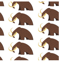 Mammoth animal with fur and tusks seamless pattern vector
