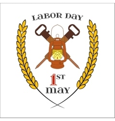 May 1st Labor Day Crossed jackhammers and vector image