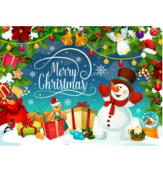 merry christmas poster with snowman and gift boxes vector image