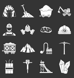 Miner icons set grey vector