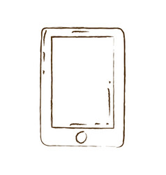 Monochrome hand drawn silhouette of tablet device vector