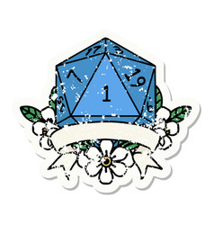 natural one d20 dice roll grunge sticker vector image